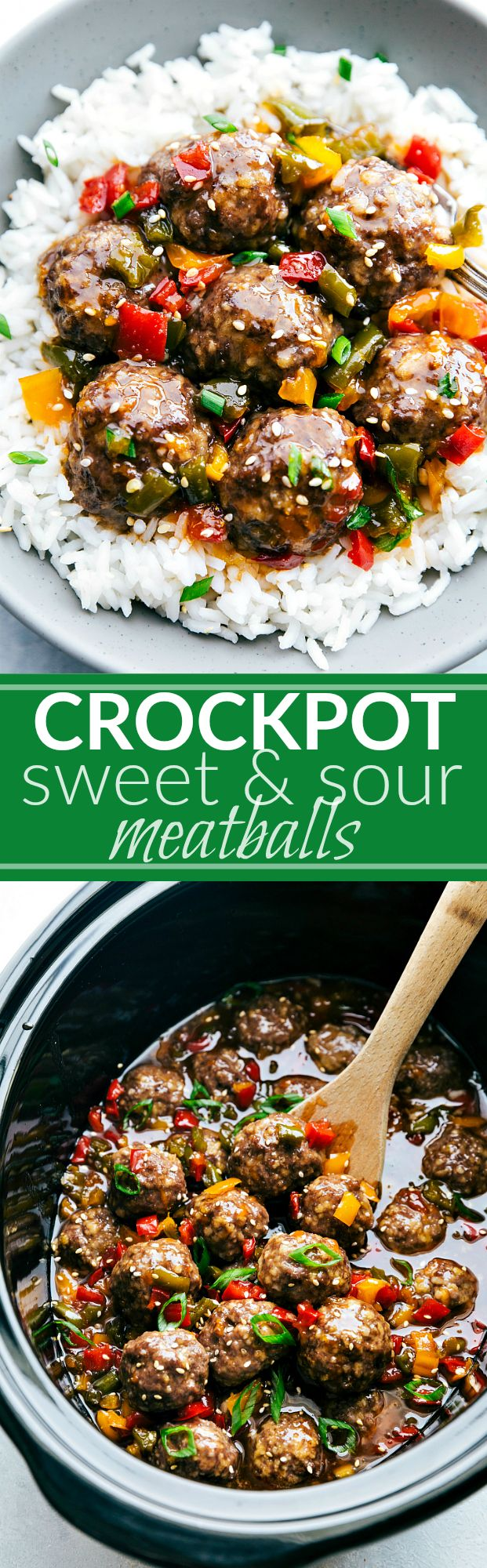CROCKPOT or oven-made Asian Meatballs with the BEST sweet and sour sauce! Easy dinner recipe via chelseasmessyapron.com