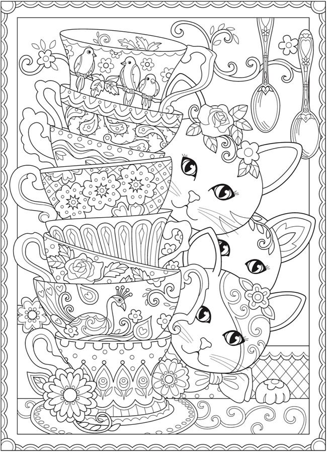 Tea Time Kittens Free Printable Coloring Page From Dover Publications