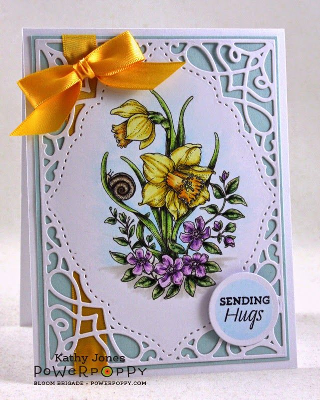 Inspired to Stamp: Sending Hugs. Dancing with Daffodils Digital Stamp, card design by Kathy Jones.