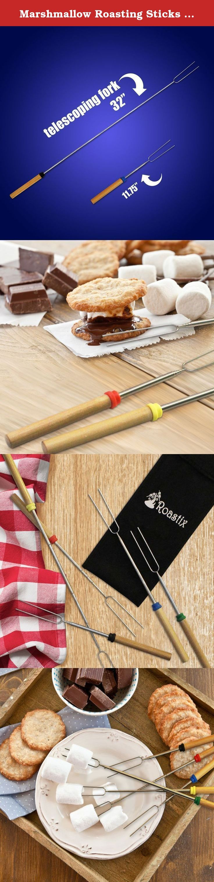 Marshmallow Roasting Sticks By Roastix - Stainless Steel, Extendable, Telescopic & Rotating S'mores Skewers - Ergonomic, Wooden Handles - 32'' Long Campfire, Camping & Patio Fire Pit Forks - Set Of 5. b>The Ultimate Marshmallow Roasting Stick Set Is Now Available On Amazon! Marshmallows and hot dogs are usually served during our fun family and friend gatherings! How would you like to own a top quality roasting stick set that would minimize the effort and maximize the comfort and pleasure?...