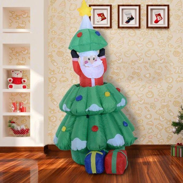 Divertida figura inchable para decorar tu casa por Navidad. Es un árbol que esconde un Papá Noel que sube y baja automáticamente. Lleva 3 luces LED integradas para brillar en las noches de Navidad. Sus medidas son: 80x70x130-160cm (Largo x Ancho x Alto). Puedes comprarlo online en https://www.aosom.es/hogar/homcom-arbol-de-navidad-multicolor-tela-80x70x130-160cm.html con envíos gratis a España y Portugal en 24h/48h.