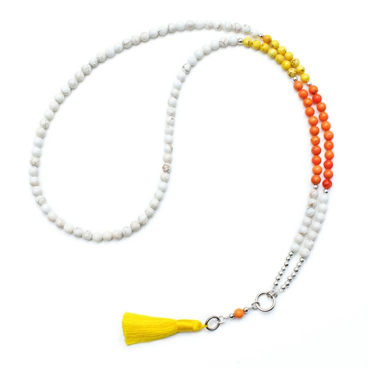 Citrus coloured Howlite tassel necklace