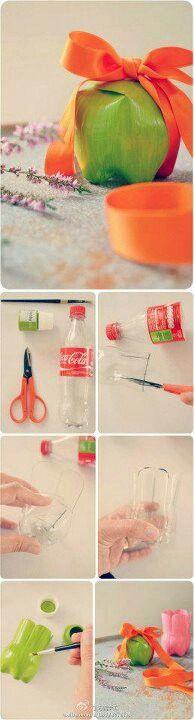 Recicla una botella de plastico y crea este hermoso empaque , puedes poner lo que quieras dentro :)
