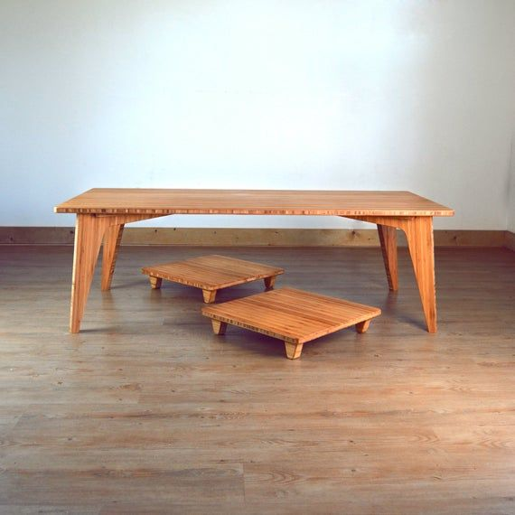 Low Coffee Table Set Bamboo With Pillow Lifts Floor Seat For
