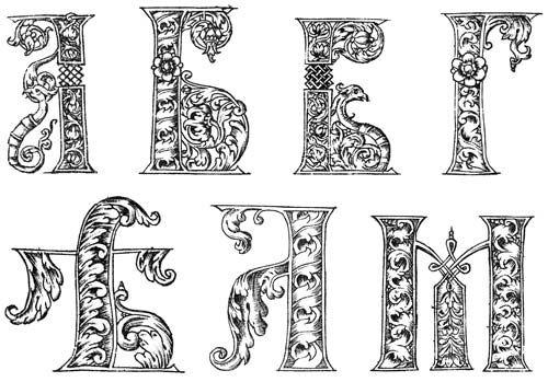 Рис. 8. Наряду с традиционными цветами, ягодами и угловатой плетенкой петли в некоторых буквах завершались птичьими головами - новым мотивом в орнаменте русского барокко Узорные инициалы из «Букваря» Кариона Истомина. Москва, 1694 год