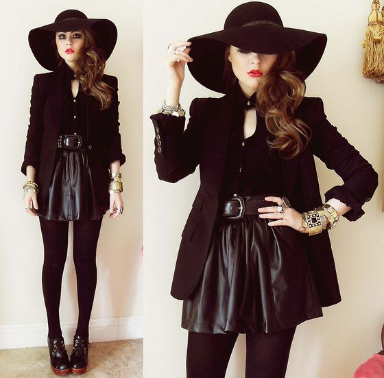 Floppy Hat, Burberry Blazer, Yes Style Leatherette Skirt, Natural Colour Lace Up Booties