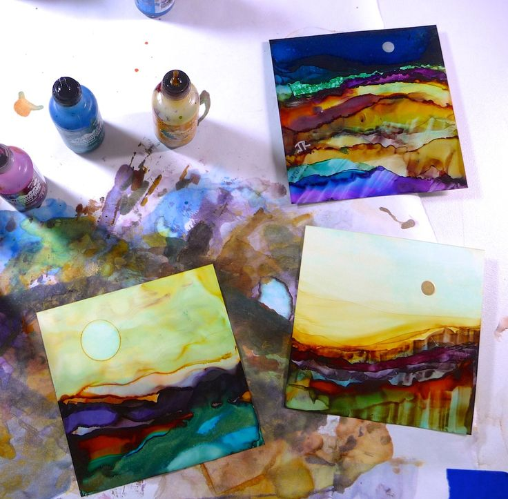 Saturday, April 27th:  Intro to Alcohol Inks - Alcohol Ink Landscape Tiles