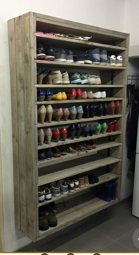 giant shoe rack made out of discarded pallets entrance pallet projects pallet shelves instead of shoe box