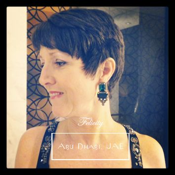 The lovely Felicity Chadwick wearing her Amelda earrings to a wedding in Abu Dhabi