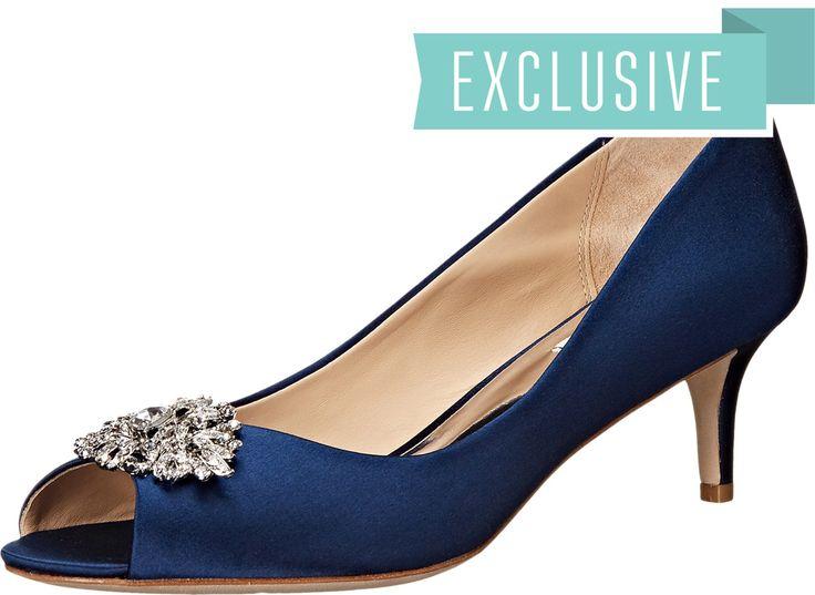 Badgley Mischka Layla Navy High Heels. 8703566. Open Footwear.