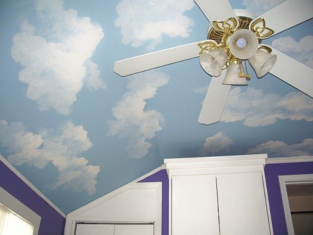 187 best images about decor on pinterest window for Cloud mural ceiling