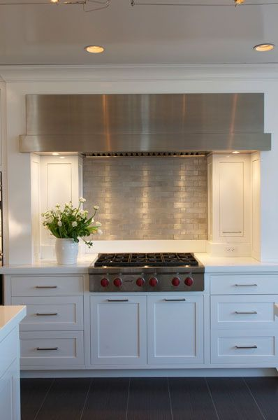 Stainless steel hood, backsplash, cabinetry | Brooks & Falotico | Westchester Renovation & Addition |