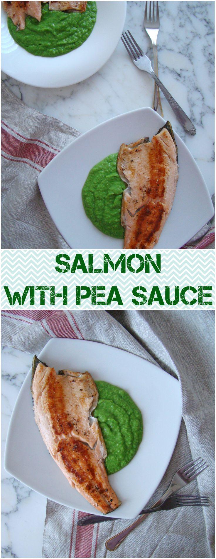 salmon with pea sauce