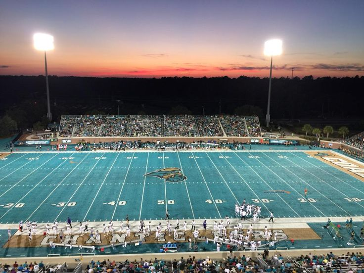 A cool photo as night takes over in Brooks Stadium. #CCU #GoTeal: