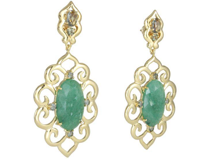 Maxi brinco de quartzo verde, com detalhes! Com duas pedrinhas imperiais...Folheado a ouro 18k.  #castelloreis #semijoias #brincos