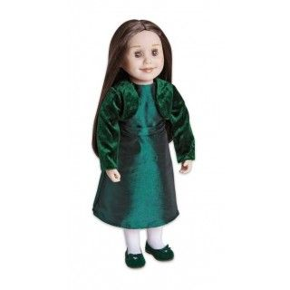 Winter Green: Dressing up for special occasions is fun when you have a beautiful dress with a matching velvet cropped jacket. Comes with decorated suede-like shoes, white tights (not shown).