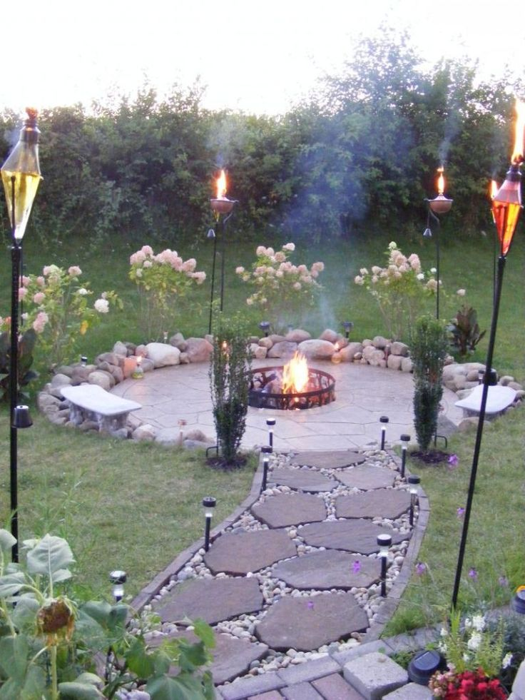 Outdoor, Perfect Torches With Flagstone Walkway For Inexpensive Patio Ideas On A Budget With Metal Fire Pit: Frugal Patio Ideas with Fire Pit on a Budget