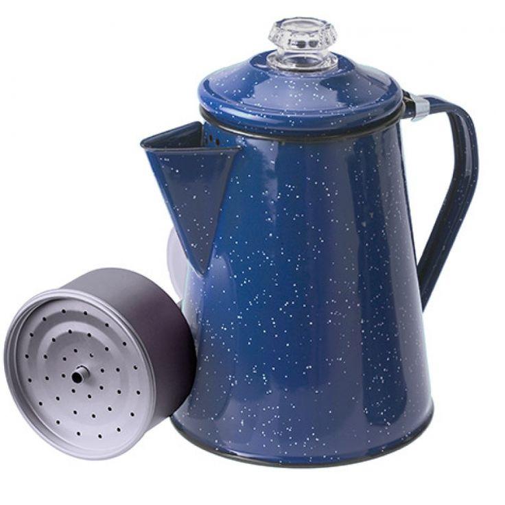 Blue Speckled Enamel Coffee Percolator, 8 Cup