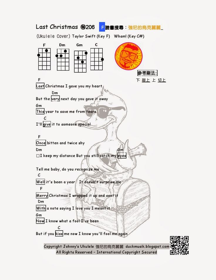 強尼的烏克麗麗 Johnny Ukulele音樂教室: #206 Last Christmas Taylor Swift Wham! 強尼的烏克麗麗譜 Johnny's Ukulele Tabs