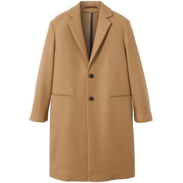 MANGO MAN Wool overcoat ($250) ❤ liked on Polyvore featuring men's fashion, men's clothing, men's outerwear, men's coats, medium brown, mens brown coat, mens wool outerwear, mens brown wool coat and mens wool coats