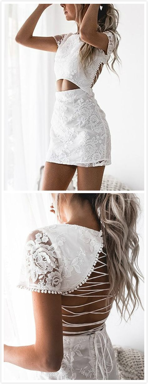 We have fallen hard for the Floral Lace Cutout Waist Criss-cross Back Mini Dress Featuring a round neckline, short sleeves, criss-cross back, cutout out waist and an invisible zipper at back. Style it with stiletto heels and fine silver accessories.