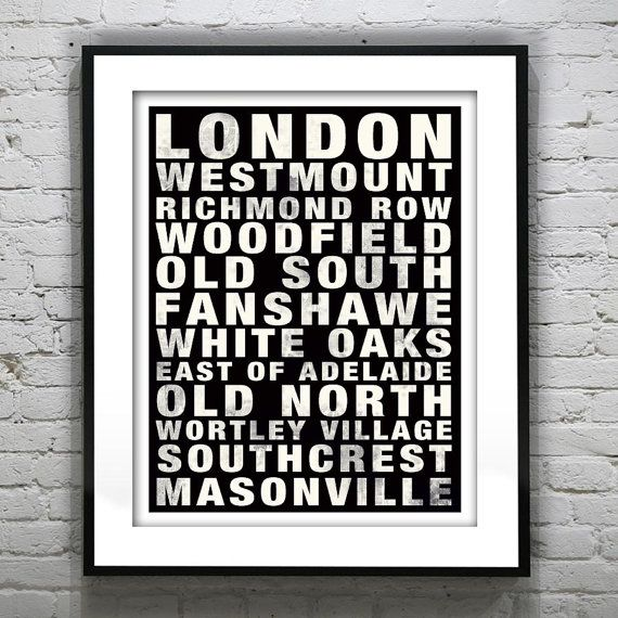 London Ontario Canada Subway Poster Art Print Fanshawe Old North Old South Woodfield on Etsy, $21.47 CAD
