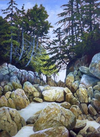 """The Way Through40 x 30"""" acrylicBirthplace of BC Gallery, Janice Robertson"""