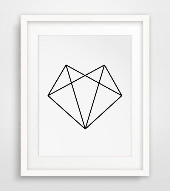 Fox Head Geometric Fox Fox Art Black and by MelindaWoodDesigns