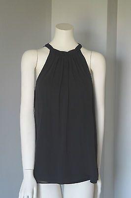 Club-Monaco-Women-Black-Silk-Sleeveless-Halter-Back-Tie-Blouse-Top-Size-M