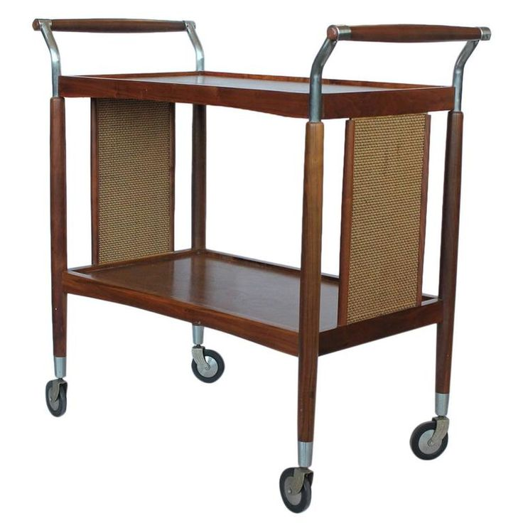 Stylish Mid-Century Wood and Cane Bar Cart | From a unique collection of antique and modern bar carts at https://www.1stdibs.com/furniture/tables/bar-carts/