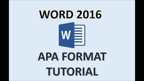 APA Format - Word 2016 - How To Set Up a Paper in APA Style in