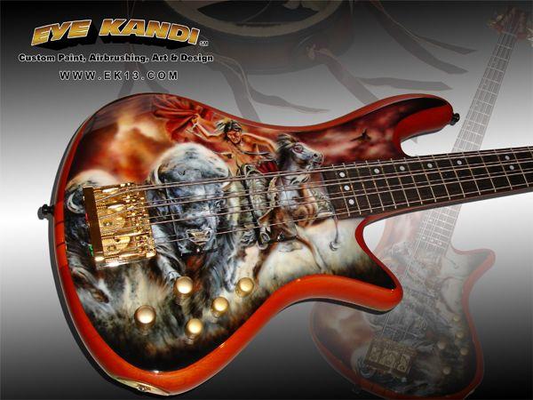 Buffalo Runners Schecter Bass Custom Painted Guitar | Eye Kandi Custom Paint and Airbrushing
