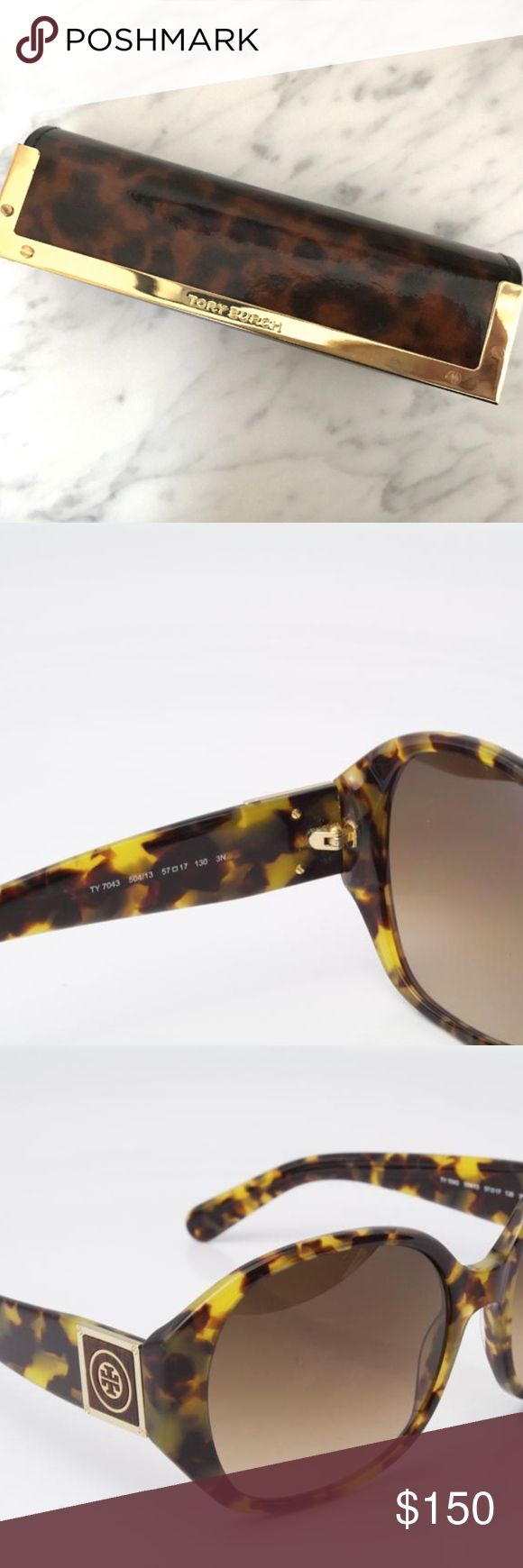 Tory Burch Tortoise Shell Sunglasses & Case Like-new Tory Burch tortoise shell sunglasses with original tortoise shell case. Details below:  Model number: 7043 Frame Color: Amber Tortoise Lens color: Gradient Brown Eye Size: 57mm Bridge Size: 17mm Temple Length: 130mm Lens Height: 50mm Tory Burch Accessories Sunglasses