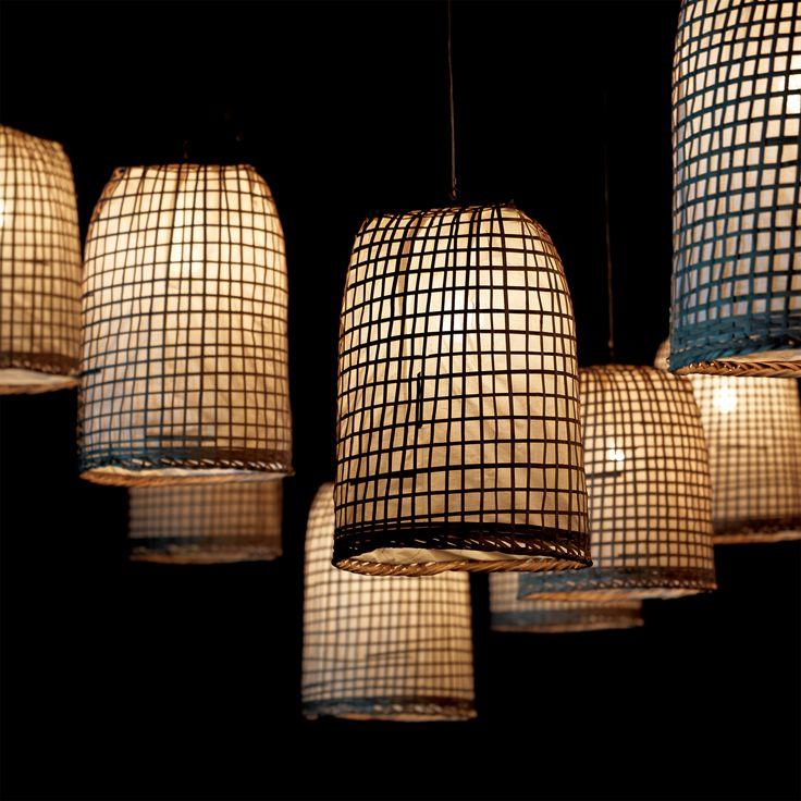 Lampe suspendue en bambou et papier de riz