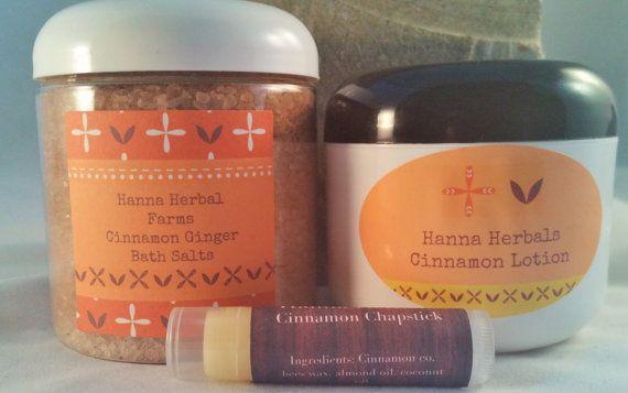 Cinnamon Gift Set  Cinnamon Bath Salts  by HannaHerbalFarms