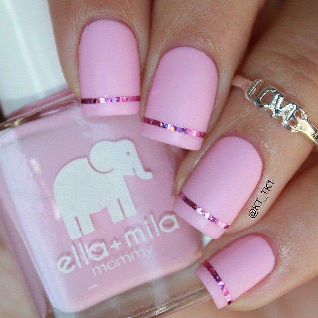 ESPAÑOL AL FINAL ❗️❗️ .  This is a special mani to support breast cancer awareness  this pink is called -so in love- and the matte top coat is -matte-ly in love- both by @ellamilapolish . ------------------ . ESPAÑOL❗️❗️ . Este es un mani especial para apoyar a la conciencia sobre el cáncer de mama.  este rosado es llamado -so in love- y el esmalte matte es -matte-ly in love- los dos son de @ellamilapolish