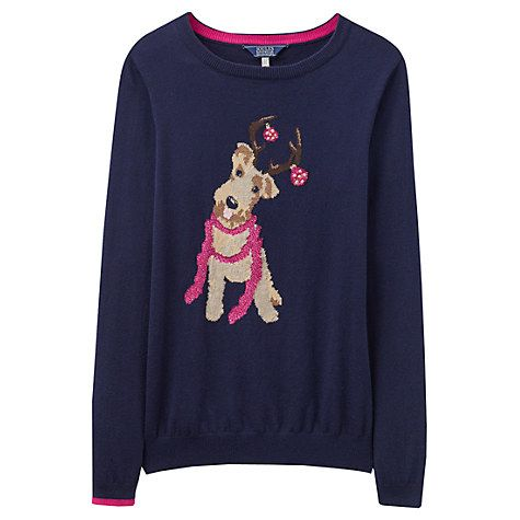 Buy Joules Festive Dog Intarsia Jumper, Navy