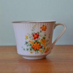 Vintage tea cup Japan orange & yellows flowers
