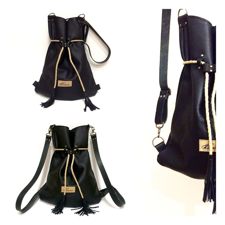 Black leather Karmacsi backpack/totebag 2in1