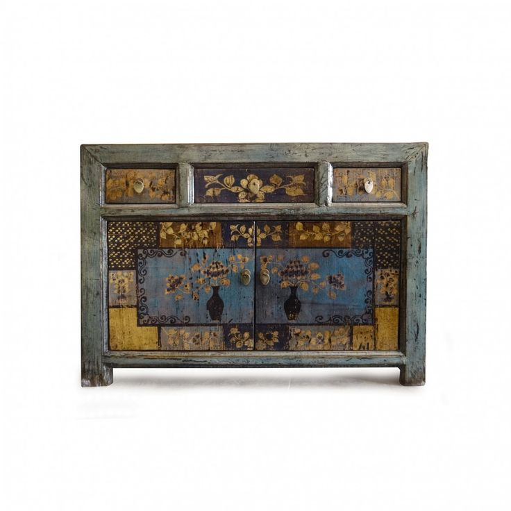 Kommode im chinesischen Stil, handbemalt, T 40 cm, B 115 cm, H 85 cm