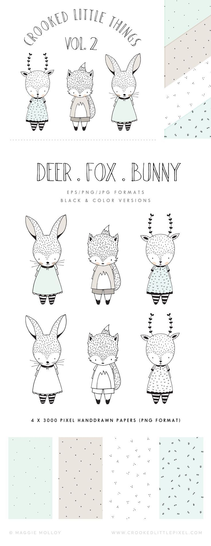 Crooked Little Things Vol.2 Animals: Set of 3 hand drawn animal characters + 4 matching hand drawn seamless patterns. Great for greeting cards, stickers, clothing etc.