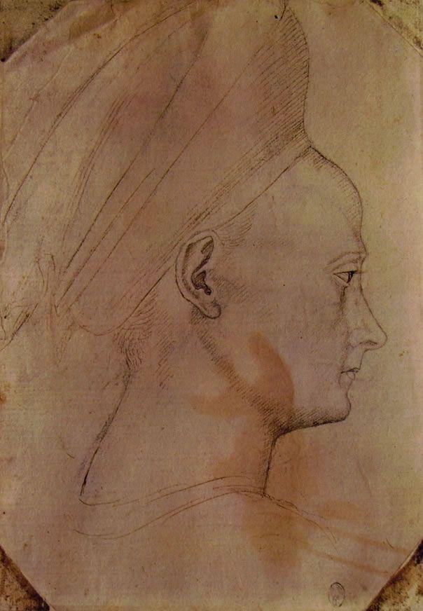 Pisanello - Testa di donna con profilo verso destra
