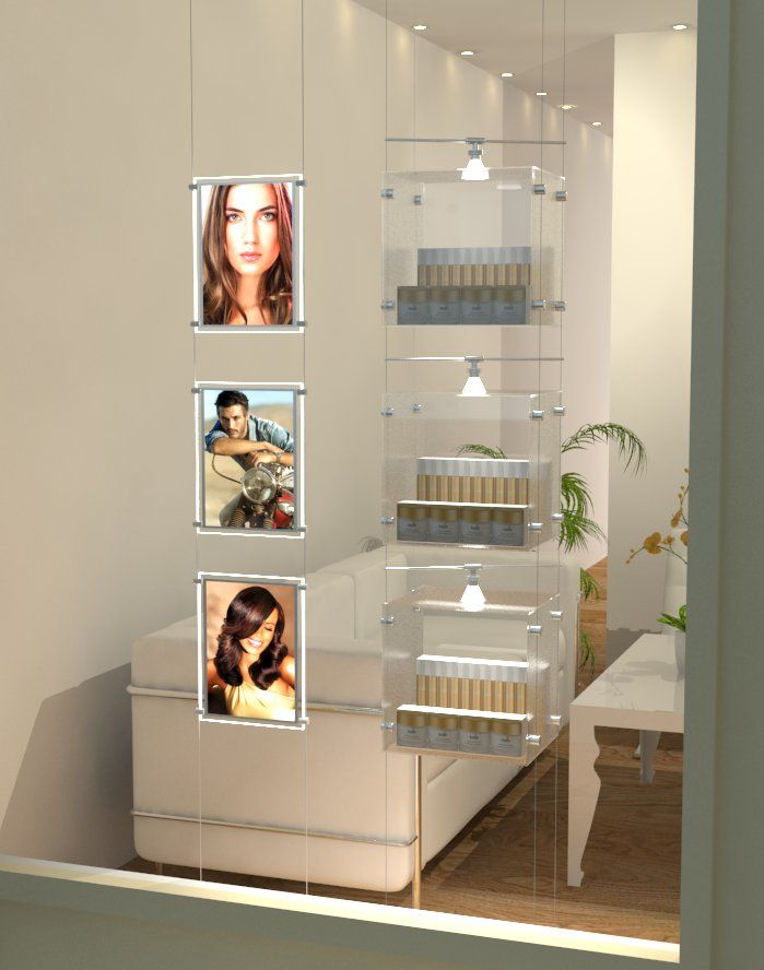Window display with LED Lights & Cubes | Hair Salon ...