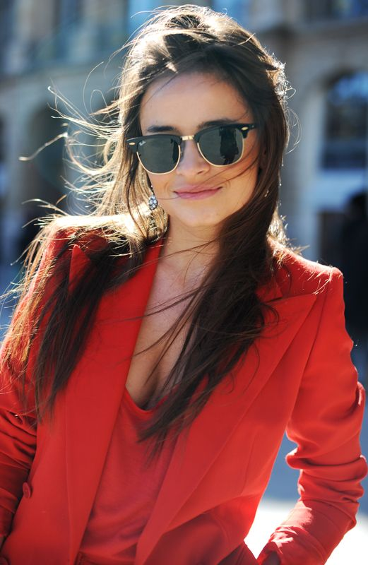 red on red: Rayban, Miraduma, Red Blazers, Street Style, Mira Warming, Miroslavaduma, Red Jackets, Miroslava Duma, Ray Ban Sunglasses