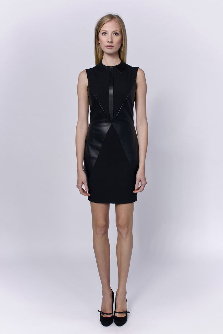 Allegretto little black dress combined with artificial leather