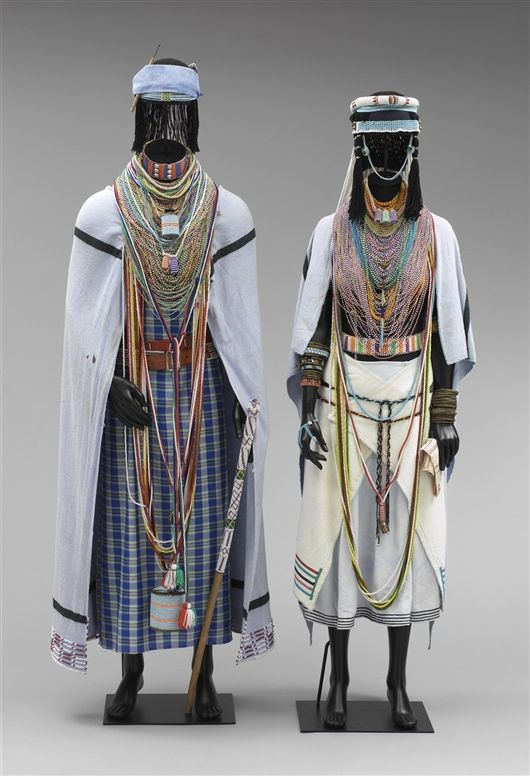 Africa | Mpondo Bride's ensemble consisting of 51 pieces | ca. 1950s | cotton, glass, plastic, metal, rubber, wood, bone and wood
