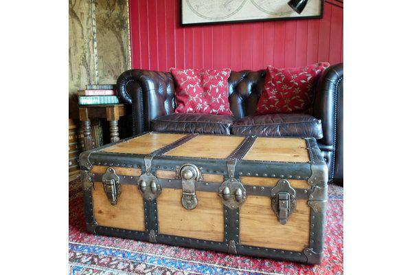 1930s Steamer Trunk In Pine | Vinterior   #20thcentury #industrial #trunk