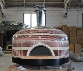 Forno Bravo Pizza Oven Napoli red and white tile combination