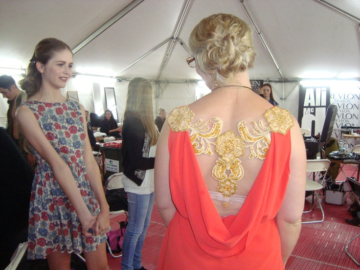 Backstage at iD Dunedin Fashion Week, Tansy Morris, wearing Tansy Morris  http://www.facebook.com/pages/Designed-by-Tansy/417499288315408