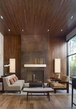 Wood Paneling New Spins On An American Clic Ageless Motif Ceilings And Walls Pinterest Living Room Modern Interior Design